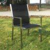 Milano RVS tuinstoel zwart RVS arm