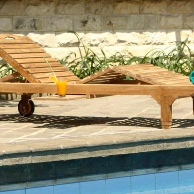 Poollounger Bali teak ligbed